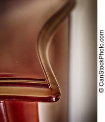 vintage solid wood furniture detail, strong vignetting
