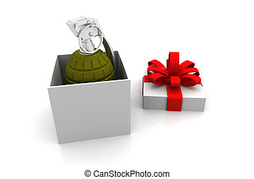Gift box with dynamite inside