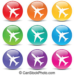 Vector airplane set icons - Vector illustration of airplane...