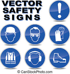 Vector safety signs - Vector illustration of safety signs on...