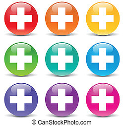 Vector plus icons - Vector illustration of plus set icons on...