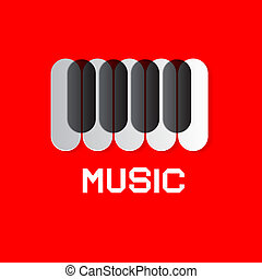 Piano Keyboard on Red Abstract Music Background