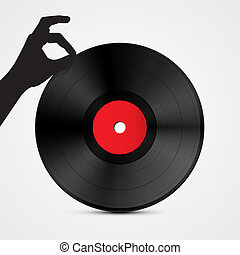 Vector Vinyl Record Disc with Hand Isolated on Light Background