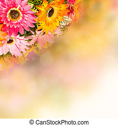 Flower background.  Fake flowers to create a beautiful