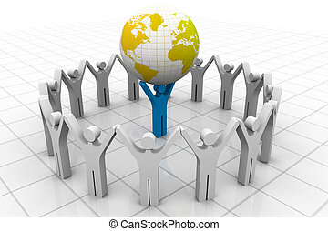 Businessman, leader lifting world