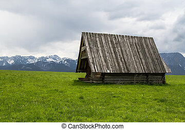 Hut in the mountains - Lonely shepherds hut in the Polish...