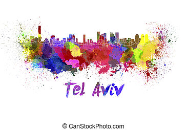 Tel Aviv skyline in watercolor splatters with clipping path