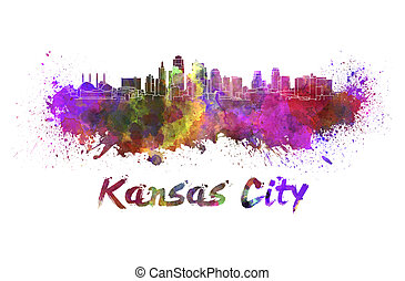 Kansas City skyline in watercolor splatters with clipping...