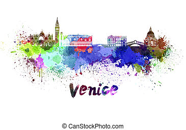 Venice skyline in watercolor splatters with clipping path