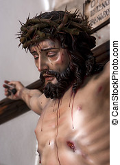 Figure of Jesus on the cross carved in wood by the sculptor...