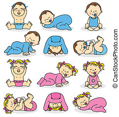 baby boys and baby girls - Vector illustration of baby boys...