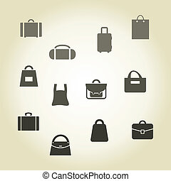 Bag - Set of icons a bag and a suitcase, a vector...
