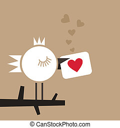 Enamoured bird - The enamoured bird holds a card with heart...