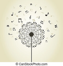 Music a dandelion - Musical notes around a flower a...