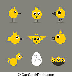 Yellow baby bird - Set of yellow baby birds of hens of birds