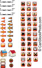 Symboler, karta, röd