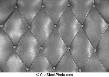 Luxury upholstery leather button chair texture in silver