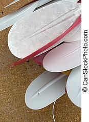 Kayak oars close up