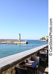 Cassis lighthouse and restaurant in France near Marseille