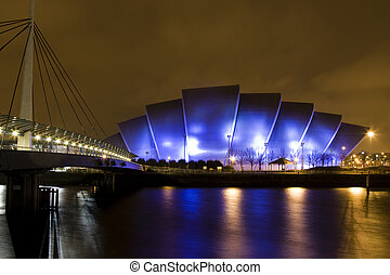 Clyde Auditorium in Glasgow Scotland at night - Clyde...