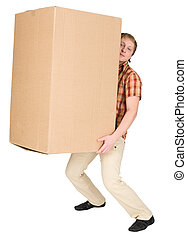 Man bears the big heavy cardboard box - Young man bears the...
