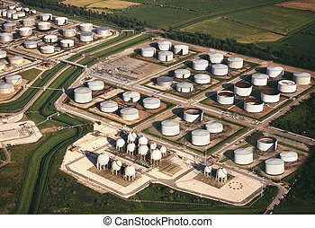 Aerial view - Oil Refinery Storage Tanks - An aerial view of...