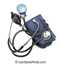 stethoscope and hemopiezometer isolated on white background