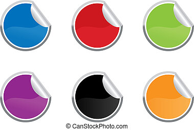 Six colored vector sticky label for price or another design