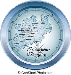 Map of North Rhine-Westphalia as an overview map in blue