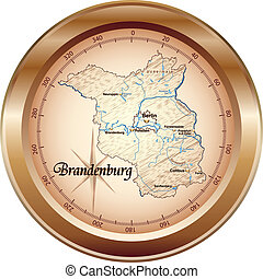 Map of Brandenburg as an overview map in bronze