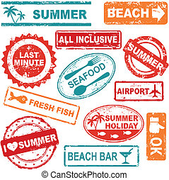 夏天,  grunge, 郵票, 旅行, 彙整, 橡膠