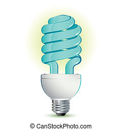 Fluorescent light Bulb with light blue and silver frame...
