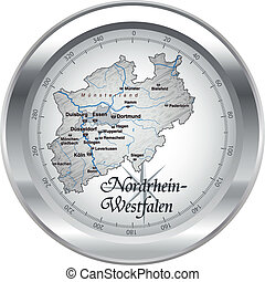 Map of North Rhine-Westphalia as an overview map in chrome