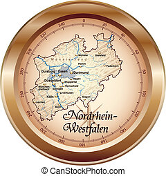 Map of North Rhine-Westphalia as an overview map in bronze