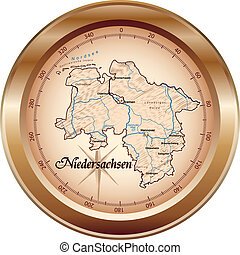 Map of Lower Saxony as an overview map in bronze