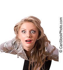 crazy blonde female looking at you isolated
