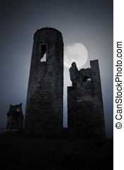 Spooky military ruins - Moonlit gothic scenery with remote...