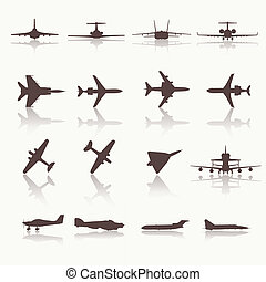 Big collection of different airplane icons. Vector....