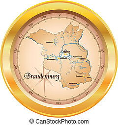 Map of Brandenburg as an overview map in gold