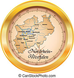 Map of North Rhine-Westphalia as an overview map in gold