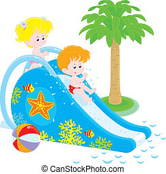 Children on a waterslide - Little girl and boy sliding down...