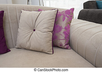 Closeup of cushions on sofa - Closeup detail of cushions on...