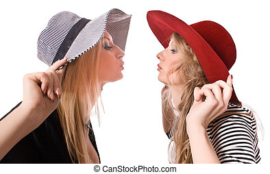 kissing similar blonde sister isolated on white with...