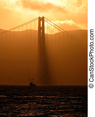 Golden Gate Sunset - A sunset at the Golden Gate Bridge with...