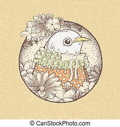 hand drawn retro style of cute bird