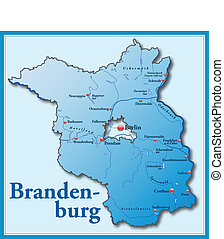 Map of Brandenburg as an overview map in blue