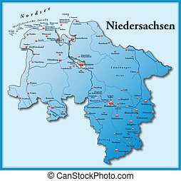 Map of Lower Saxony as an overview map in blue