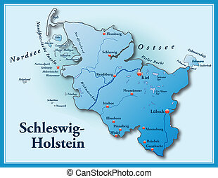 Map of Schleswig-Holstein as an overview map in blue