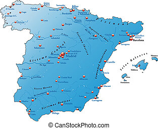 Map of Spain as an overview map in blue
