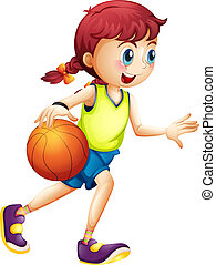 A young girl playing basketball - Illustration of a young...